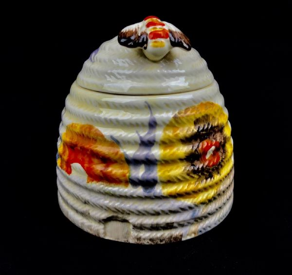 Clarice Cliff Bizarre Rhodanthe Beehive Honey Pot / Art Deco Ceramic / Antique